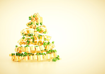 3d xmas gift christmas tree spiral shape concept.