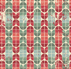 Colorful worn geometric seamless pattern, vector decorative abst