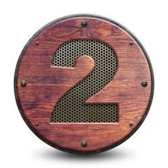Plaque en bois et métal - Chiffre 2