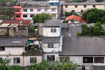 The old tenement houses in bangkok,Thailand