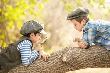 Boys with a magnifying glass on a tree branch