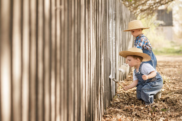 Boys paint old fence