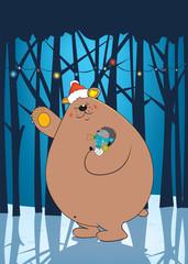 Bear holding hedgehog,Christmas illustration