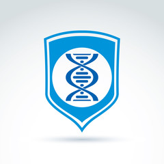 Vector blue shield with DNA molecules spiral, DNA analysis labor