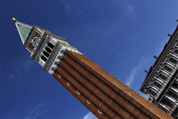 Diagonal view of St Mark's campanile, Piazza San Marco, Venice