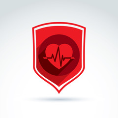 Cardiology protection heart cardiogram icon, cardio, vector conc
