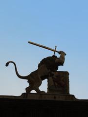 Lion with sword sculpture Leiden Netherlands