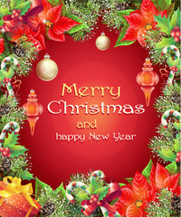 Greeting card with Christmas and New Year tree with branches, pi