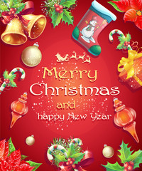 Greeting card with Christmas and New Year with the image of Chri