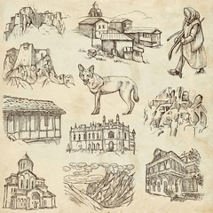 Georgia (travel collection) - full sized hand drawn illustration