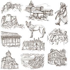 Georgia (travel collection) - full sized hand drawn illustration