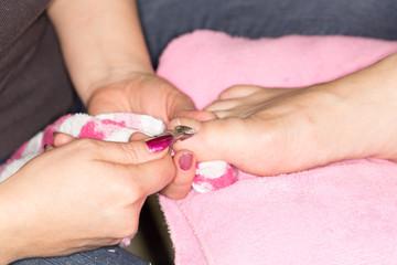 pedicure at beauty salon