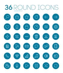 36 Round Web&Media Icons