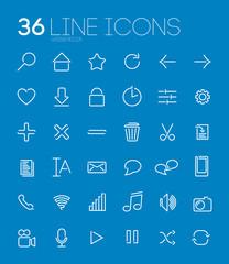 36 Line Web&Media Icons
