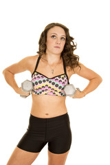 woman dot sports bra weights under arms