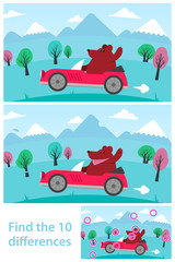 Kids puzzle - spot the 10 differences