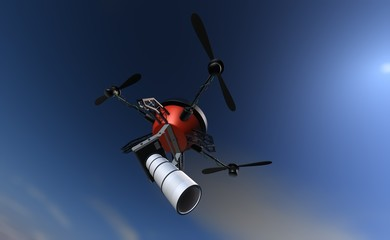 Big brother is watching you - espionage drone flying in the sky