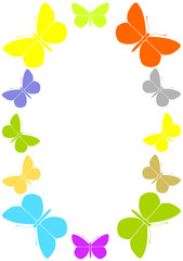 Colourful frame with butterflies