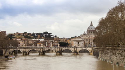 Rome, Italy. A view of embankments of Tiber and the bridge