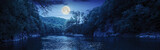 forest river with stones on shores at night - 73902220