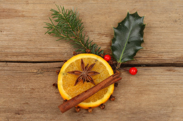 Orange and spice with holly