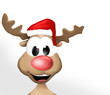 Happy Reindeer with red hat