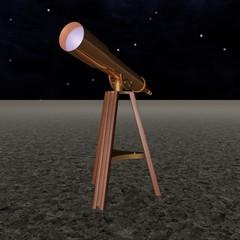 Bronze telescope over starry sky, 3d render