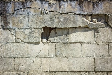 closeup of dangerous wall with cracks.