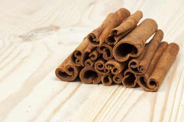 cinnamon on wooden table