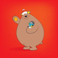 Bear and hedhehog Christmas card illustration
