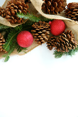 Christmas Bulb, Pinecone and Evergreen Border Isolated on White
