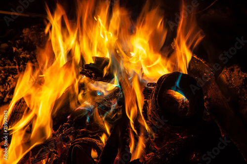 canvas print picture Orange and blue flames of fire