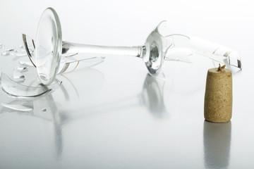 Cork and broken glass
