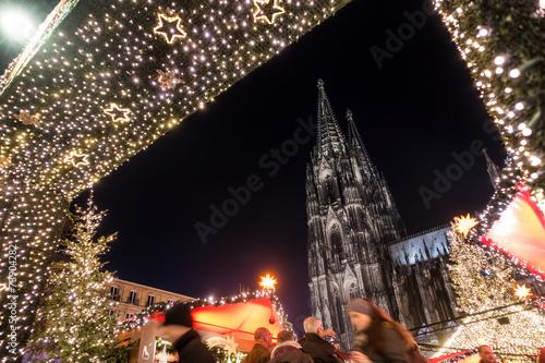 canvas print picture Weihnachtsmarkt am Kölner Dom