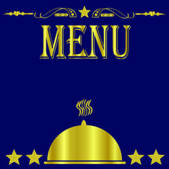 Blue and Gold 5 Star Restaurant Menu Cover