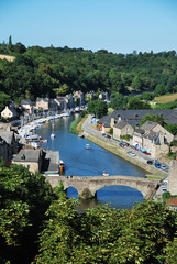 Old stone bridge in Dinan, Brittany, France