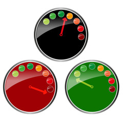 three color glossy clocks vector graphic
