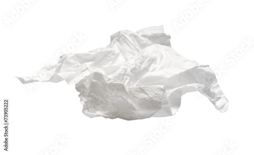 used napkin isolated on white. With clipping path - 73905222