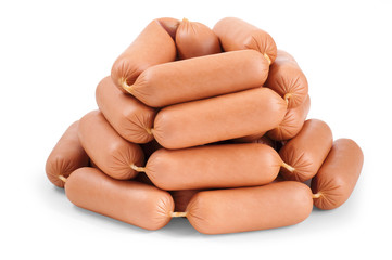 Many sausages on a white background