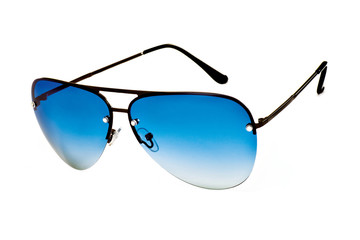 Sunglasses with blue lenses white background