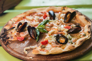 Traditional italian seafood pizza
