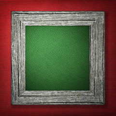 Red background with wooden frame
