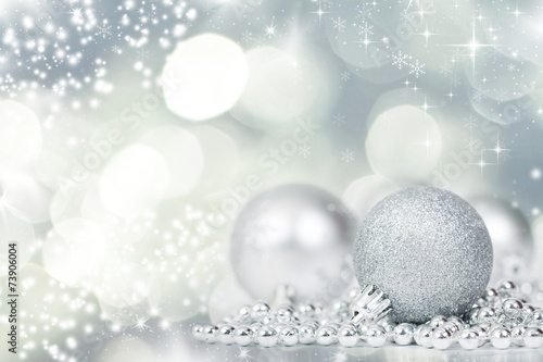 Silver Christmas background with decorations © erika8213