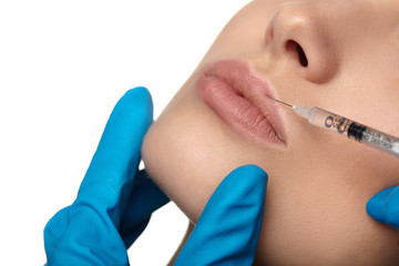 Beauty woman botox injections.