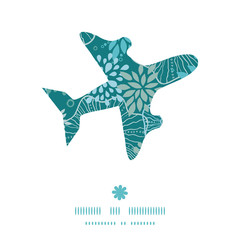 Vector blue and gray plants airplane silhouette pattern frame