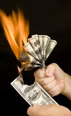 Money Being Burned