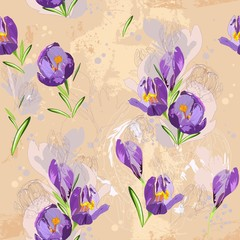 Seamless design with spring flowers