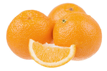 fresh sliced oranges isolated