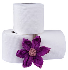 toilet paper decorated with paper flower