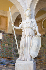 Seville - statue of Athena in the Courtyard of Casa de Pilatos .
